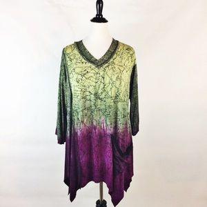 Art of cloth asymmetrical print knit tunic top L